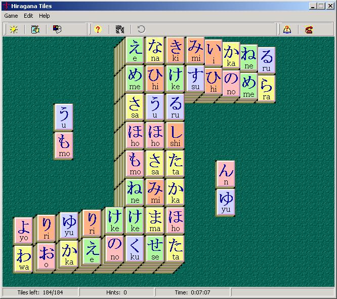 Game teaching Japanese Hiragana symbols.